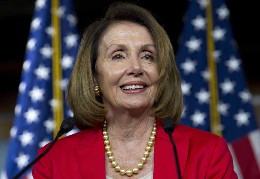 In a Thursday, Sept. 6, 2018 file photo, House Minority Leader Nancy Pelosi, D-Calif., speaks during her weekly news conference on Capitol Hill, in Washington. (AP Photo/Jose Luis Magana, File)