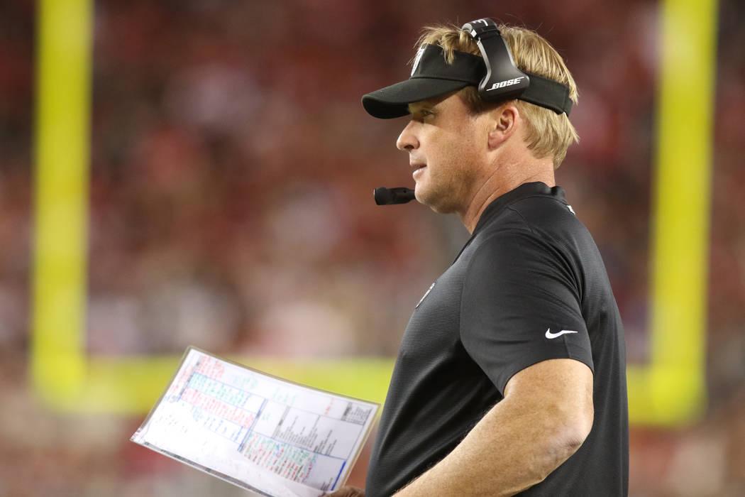 Oakland Raiders head coach calls a play during the first half of their NFL game against the San Francisco 49ers in Santa Clara, Calif., Thursday, Nov. 1, 2018. Heidi Fang Las Vegas Review-Journal ...