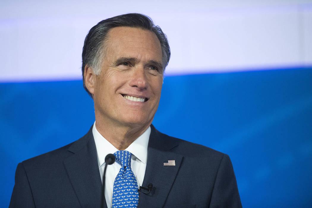 Republican U.S. Senate candidate Mitt Romney is seen during the debate with U.S. Democratic Senate candidate Jenny Wilson in Cedar City, Utah, on Oct. 9, 2018. (James M. Dobson/The Spectrum via AP ...