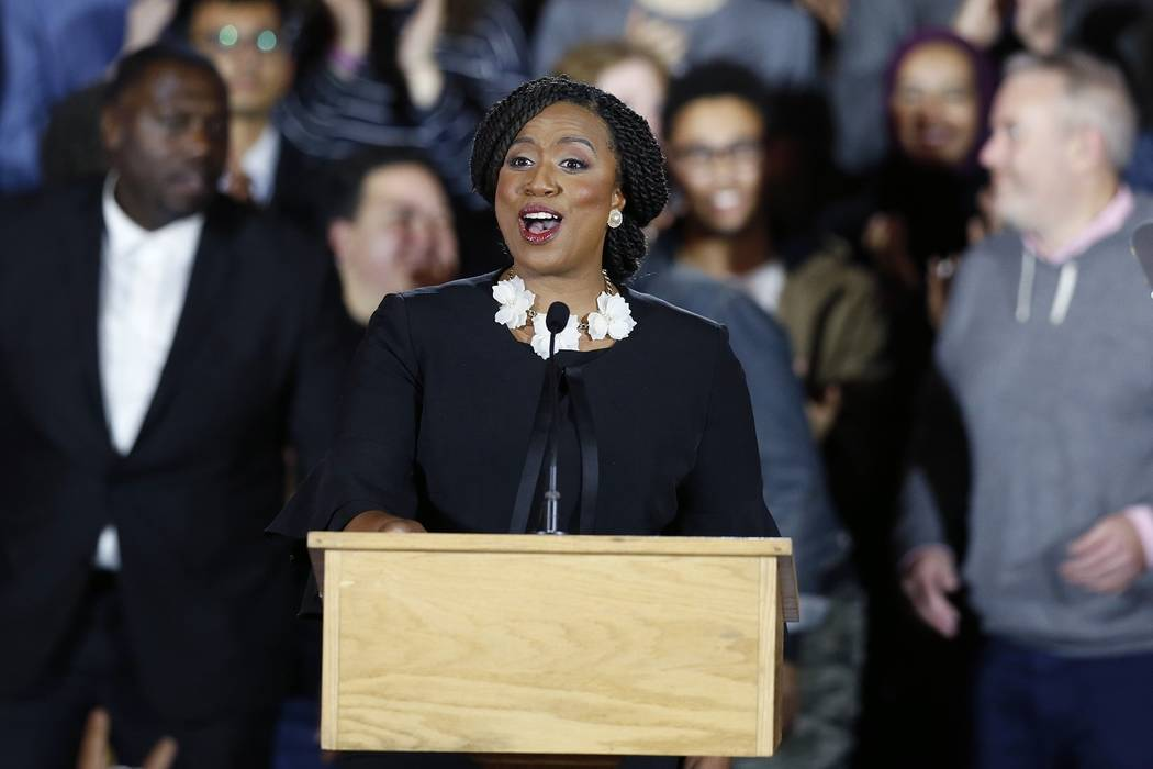 Democrat Ayanna Pressley gives her victory speech at an election night party after being elected to represent Massachusetts' 7th congressional district, Tuesday, Nov. 6, 2018, in Boston. (AP Photo ...
