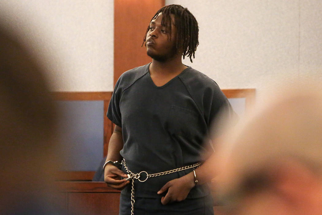 Erin Deshawn Lynn Hines, 17, the suspect in the shooting of an 11-year-old girl in North Las Vegas, appears for arraignment at the Regional Justice Center in Las Vegas, Tuesday, Nov. 6, 2018. Caro ...