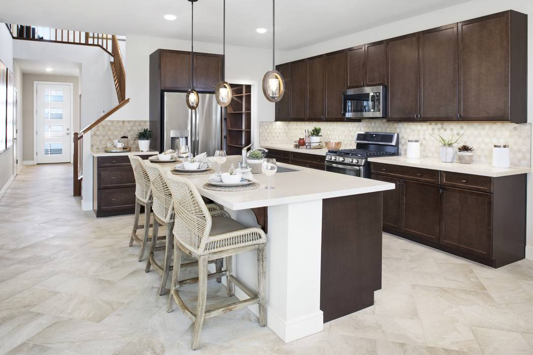 Shown is the kitchen of the Plan Two model at Pardee Homes' Indigo in North Las Vegas, just off the 215 Beltway at Revere Street and Dorrell Lane. (Pardee Homes)