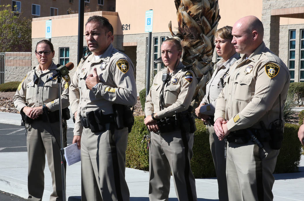 Capt. Laz Chavez, second left, who oversees the Metropolitan Police Department's downtown area command, speaks during a press conference on Wednesday Nov. 7, 2018, in Las Vegas. Chavez announced ...