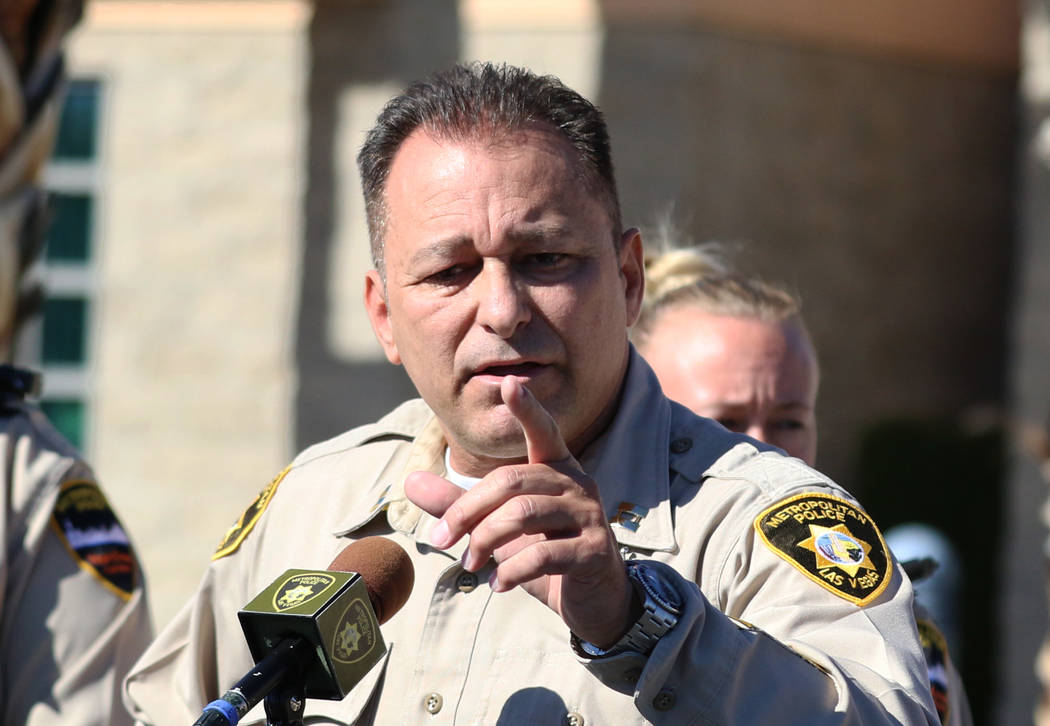 Capt. Laz Chavez, who oversees the Metropolitan Police Department's downtown area command, speaks during a press conference on Wednesday Nov. 7, 2018, in Las Vegas. Chavez announced that police ...