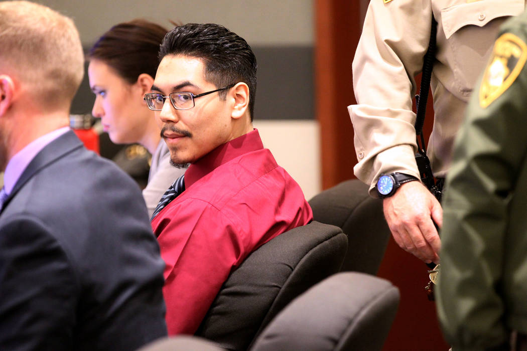 Casey Sandoval, who fatally shot his girlfriend, Ariele Azrate-Lujan in 2015, waits for closing arguments in his murder trial in Clark County District Court in Las Vegas Wednesday, Nov. 7, 2018. K ...