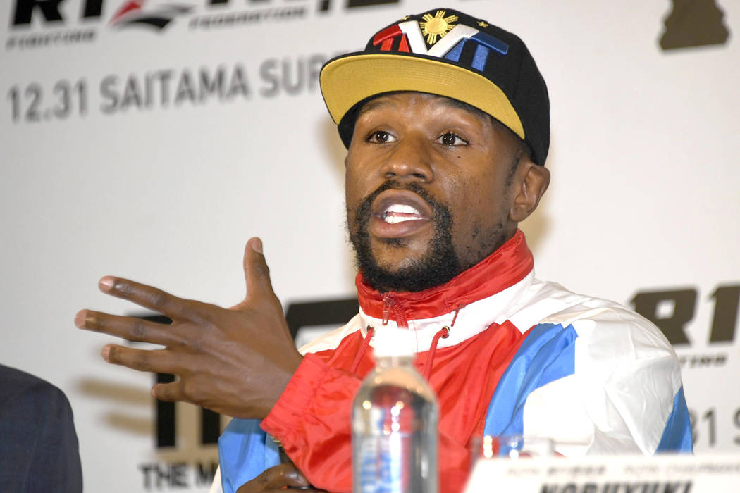 Floyd Mayweather of the U.S. speaks during a press conference in Tokyo, Monday, Nov. 5, 2018. Mayweather said he has signed to fight Japanese kickboxer Tenshin Nasukawa for a bout promoted by Japa ...