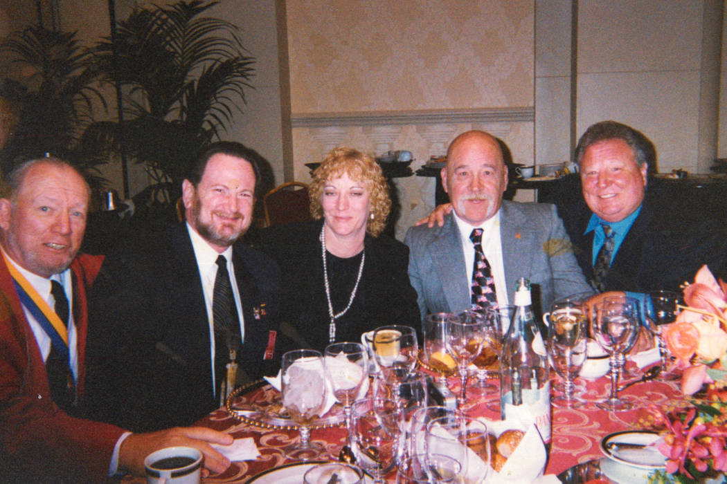A photo of Jerry Adams (second from left) and Billy Stojack (second from right) with other veterans at a fundraiser for President George W. Bush in 2003. Photo courtesy of Kristen Watson.