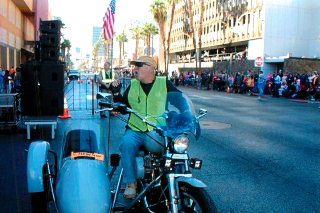 Billy Stojack riding his Harley Davidson during the Veterans Day Parade in 2016.