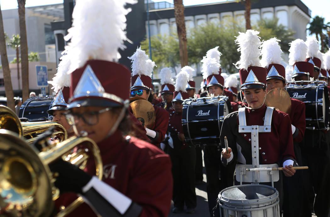 The Cimarron-Memorial High School Marching Band during the Veterans Day Parade in Las Vegas, Sunday, Nov. 11, 2018. Rachel Aston Las Vegas Review-Journal @rookie__rae