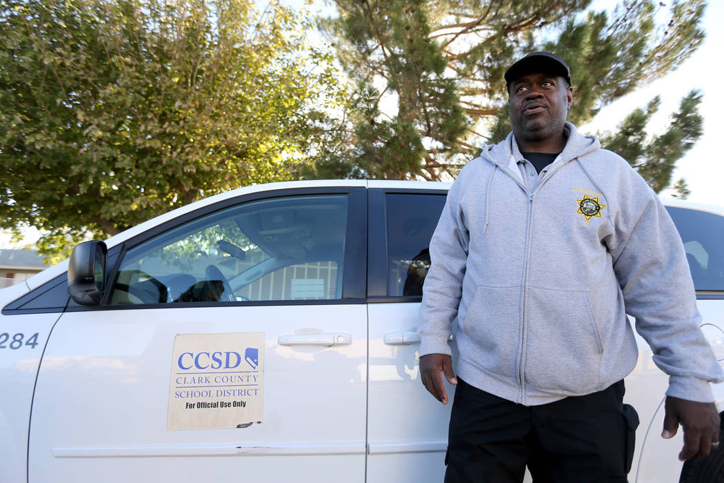 Clark County School District Attendance Officer Tony Stark prepares for his shift at his Las Vegas office Monday, Oct. 17, 2018. K.M. Cannon Las Vegas Review-Journal @KMCannonPhoto