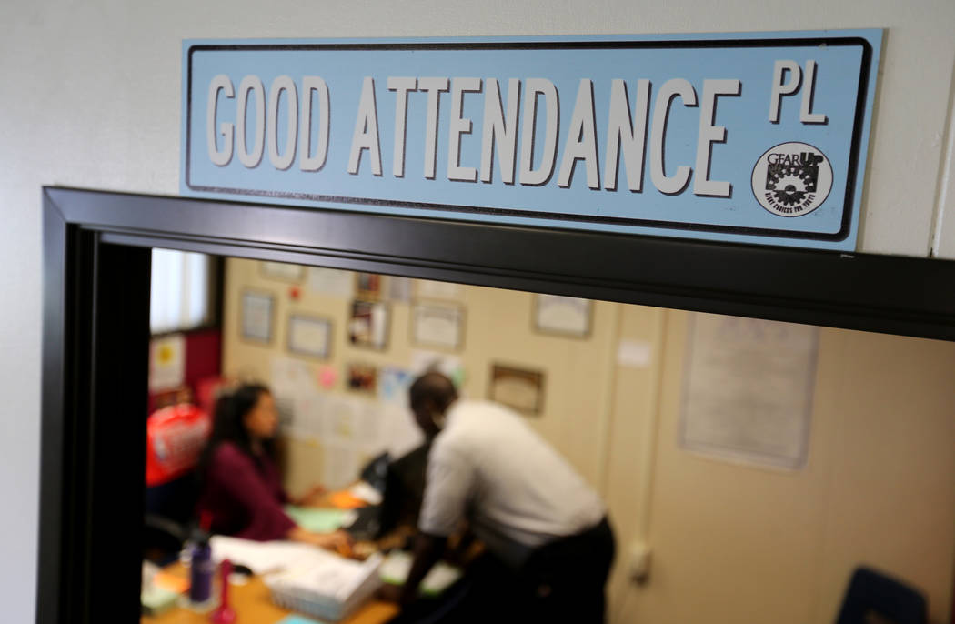 Clark County School District Attendance Officer Tony Stark checks for absent students at Fremont Middle School in Las Vegas Tuesday, Oct. 18, 2018. K.M. Cannon Las Vegas Review-Journal @KMCannonPhoto