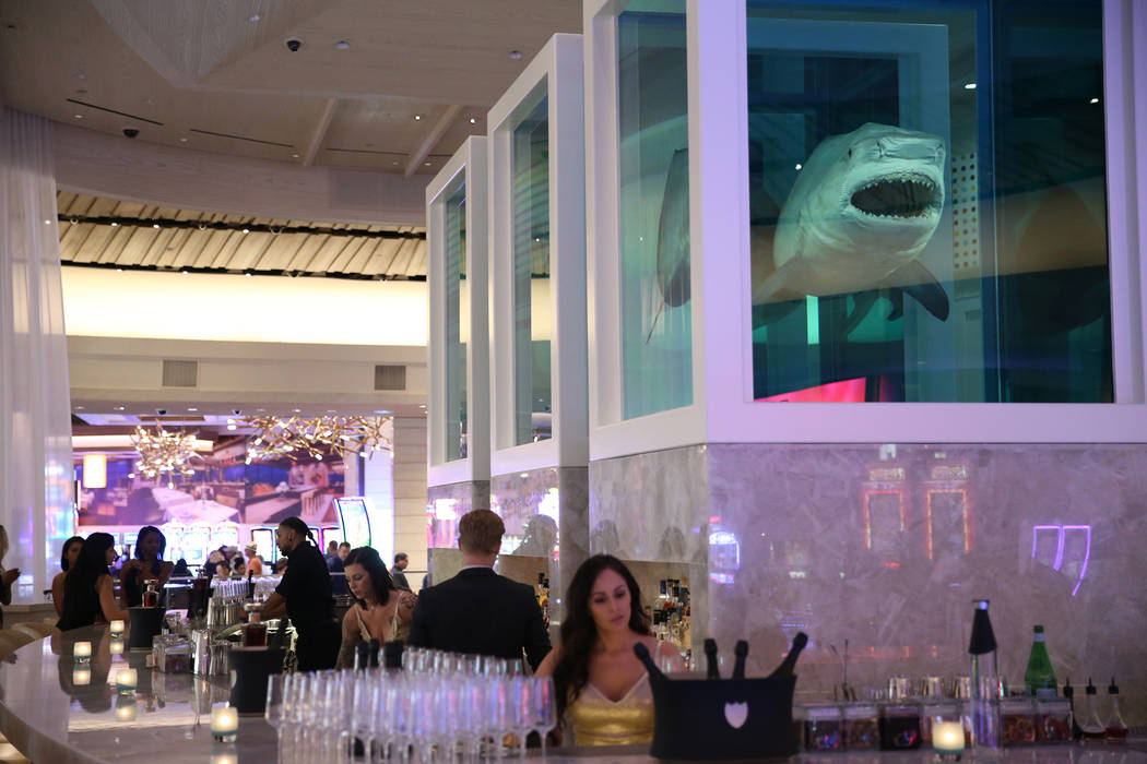 Damien Hirst's The Unknown, Explored, Explained, Exploded, shark art piece is seen inside the renovated Palms hotel-casino in Las Vegas, Thursday, May 17, 2018. Erik Verduzco Las Vegas Review-Jour ...