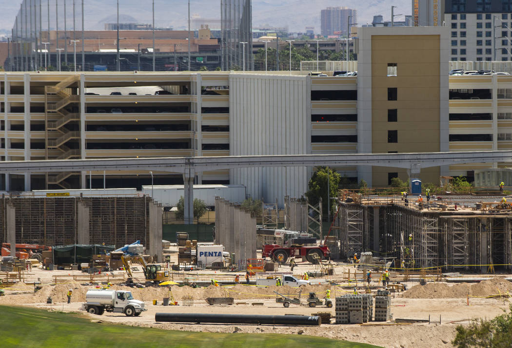 Construction goes on as part of the Paradise Park and convention center expansion at Wynn Las Vegas on Wednesday, June 13, 2018. The convention facility is slated to be 400,000-square-feet. Chase ...