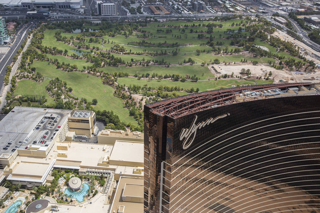 Aerial photo of Wynn Las Vegas and construction of the new golf course on Wed., August 22, 2018, in Las Vegas. Benjamin Hager Las Vegas Review-Journal
