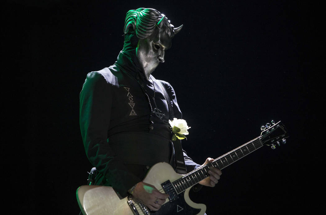 Water, bass player for the Swedish heavy metal band Ghost performs during the Hell and Heaven 2016 metal music festival in Mexico City, Saturday, July 23, 2016. The one-day festival features a lin ...