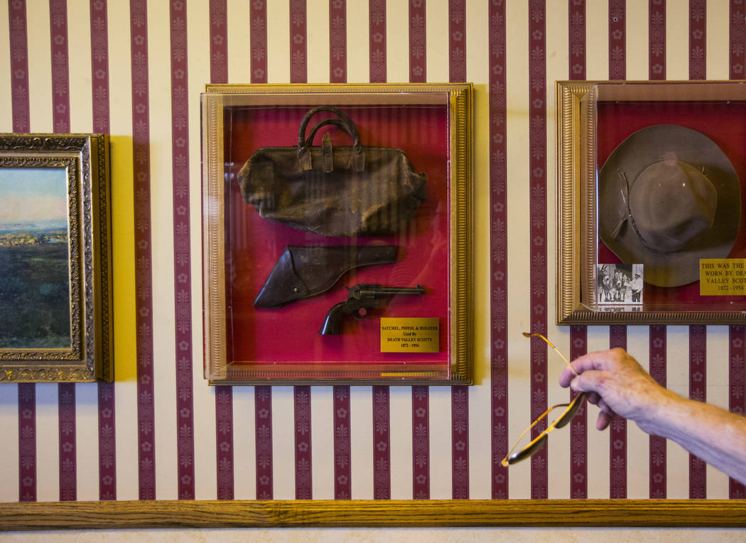 "Businessman Jim Marsh points to items used by ""Death Valley Scotty,"" or Walter Edward Perry Scott, at his Longstreet Casino in Amargosa Valley on Sunday, Oct. 28, 2018. Chase Stevens Las ..."