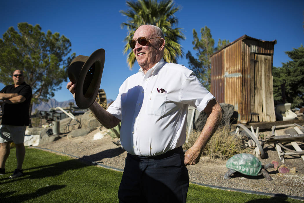 Businessman Jim Marsh arrives for the opening of the Chapel at Longstreet, a replica of a Catholic church in Belmont, at Marsh's Longstreet Casino in Amargosa Valley on Sunday, Oct. 28, 2018. Chas ...