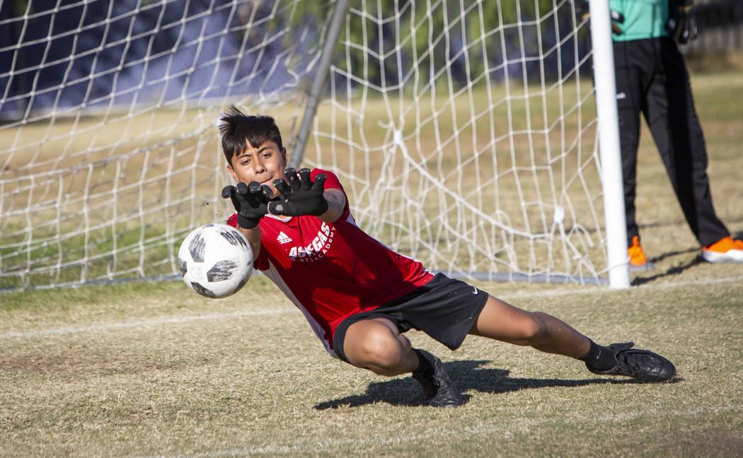 Durango's sophomore goalkeeper Jason Sotelo blocks a shot on goal during a soccer practice at Durango High School in Las Vegas, Wednesday, Nov. 7, 2018. Caroline Brehman/Las Vegas Review-Journal