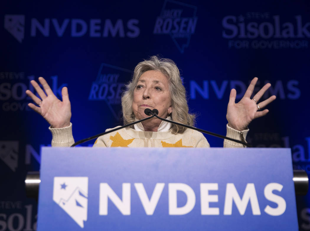 Congresswoman Dina Titus speaks during an election night event hosted by the Nevada Democrats on Tuesday, November 6, 2018, at Caesars Palace, in Las Vegas. Benjamin Hager Las Vegas Review-Journal