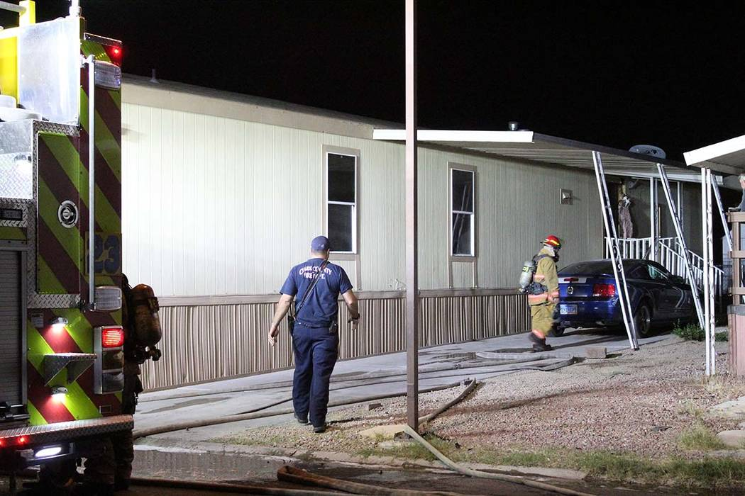 Clark County Firefighters responded early Thursday morning to reports of a fire at a northeast valley mobile home park. (Max Michor/Las Vegas Review-Journal)