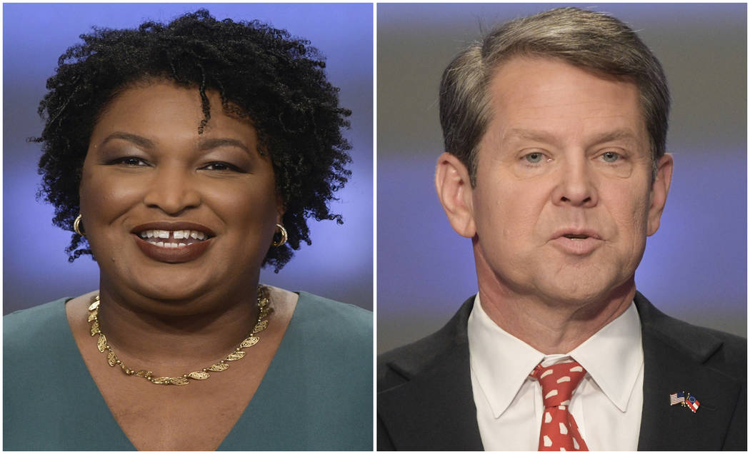 This combination of May 20, 2018, photos shows Georgia gubernatorial candidates Stacey Abrams, left, and Brian Kemp in Atlanta. Democrats and Republicans nationwide will have to wait a bit longer ...
