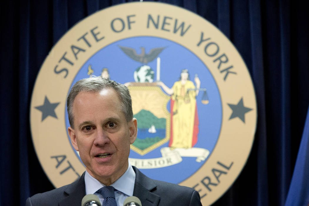 Then-New York Attorney General Eric T. Schneiderman speaks during a news conference in New York, Feb. 11, 2016. The prosecutor appointed to investigate allegations that the former attorney general ...
