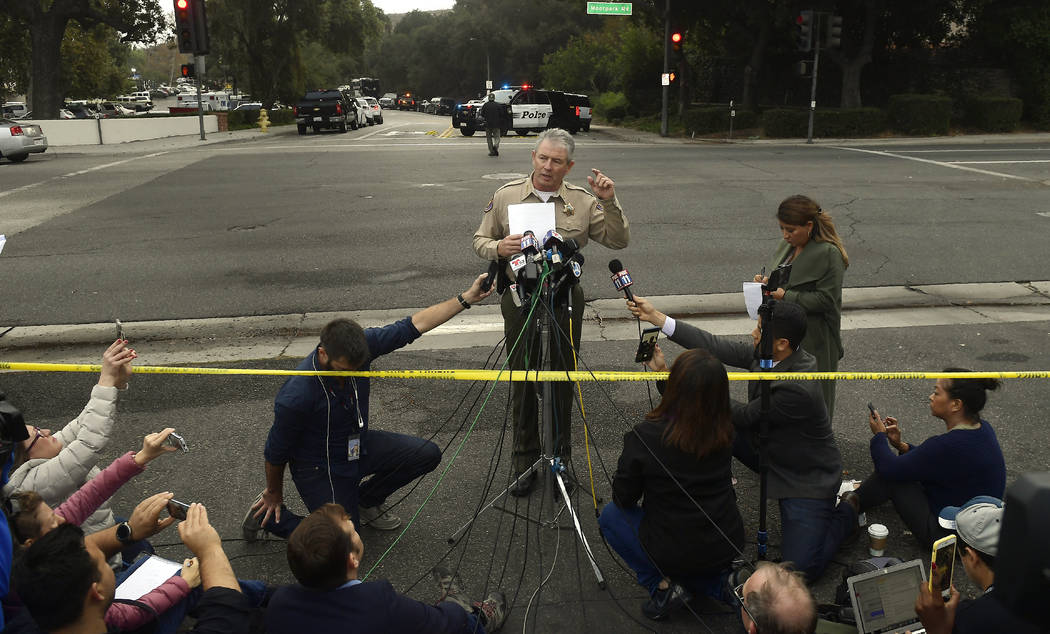 Ventura County Sheriff Geoff Dean speaks to reporters near the scene in Thousand Oaks, Calif., on Thursday, Nov. 8, 2018, where a gunman opened fire the previous night inside a country dance bar c ...