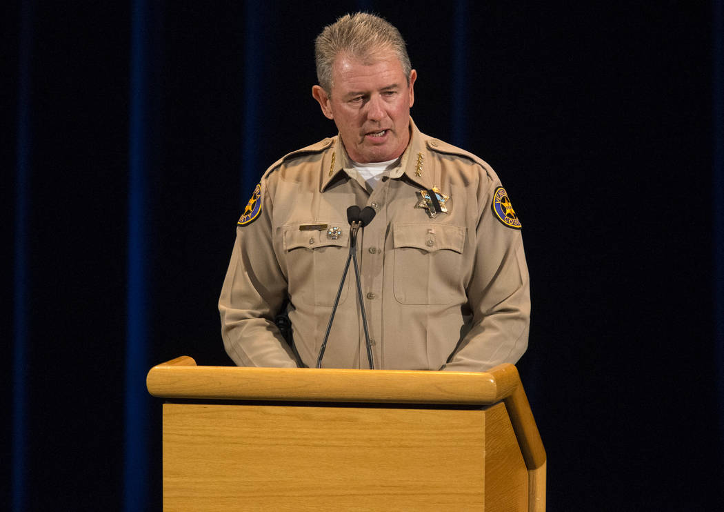 Ventura County Sheriff Geoff Dean speaks during a candlelight vigil for victims of the Borderline Bar and Grill mass shooting in Thousand Oaks, Calif., on Thursday, Nov. 8, 2018. Richard Brian Las ...