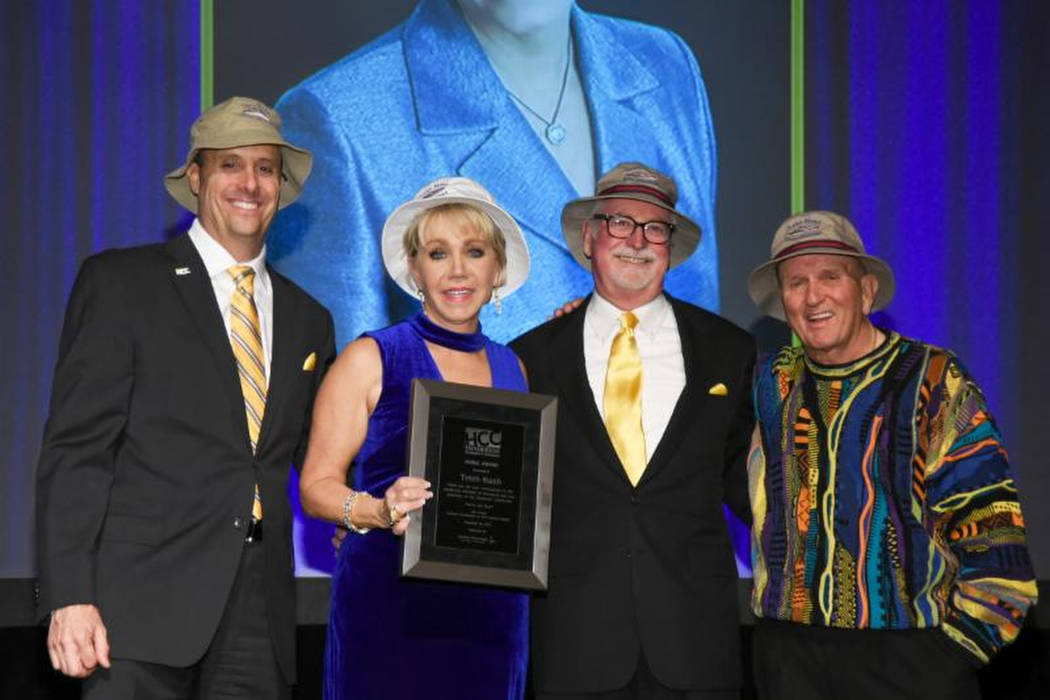 From left to right: Scott Muelrath, president and CEO of the Henderson Chamber of Commerce; Trish Nash, real estate agent; Robert Anderson, past president of the Henderson Chamber and Laird Noble ...