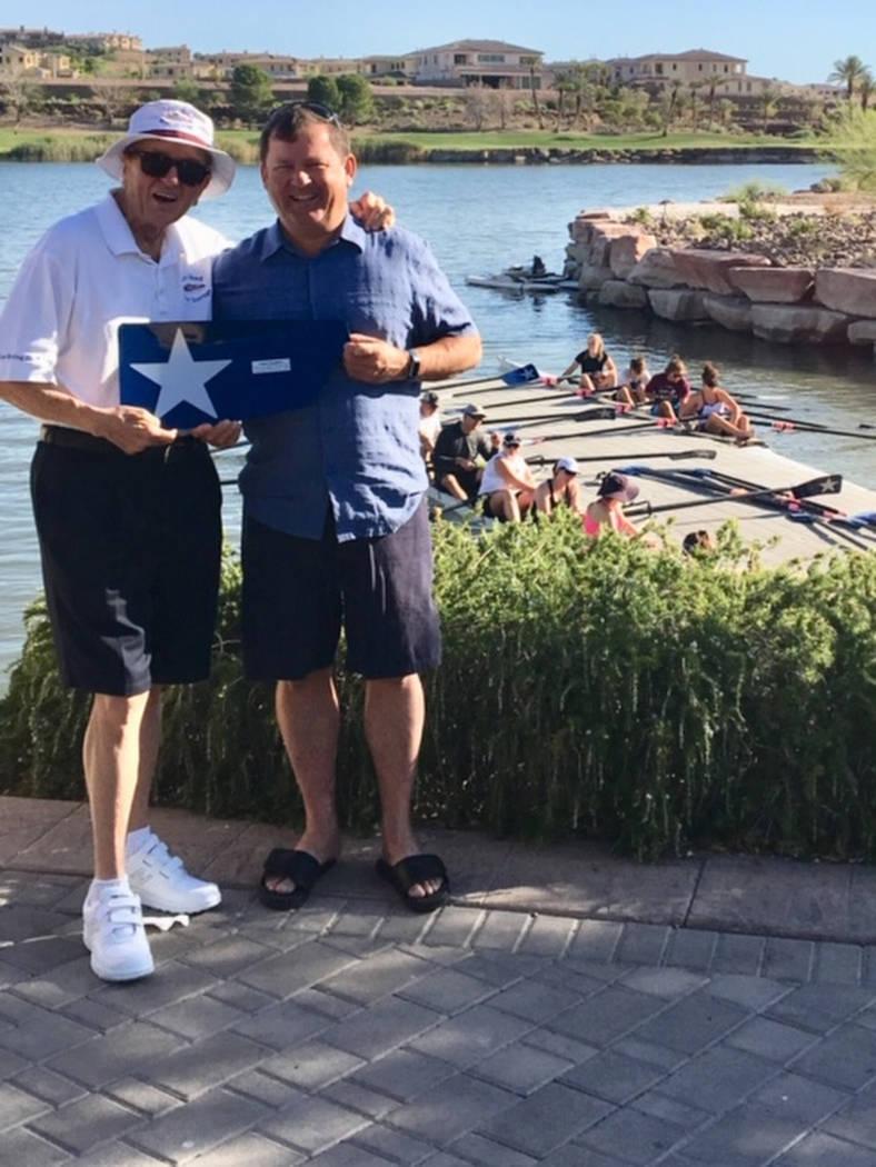 Laird Noble Sanders stands with Jim Andersen, rowing coach for the Lake Las Vegas Rowing Club. (Rhonda Sanders)