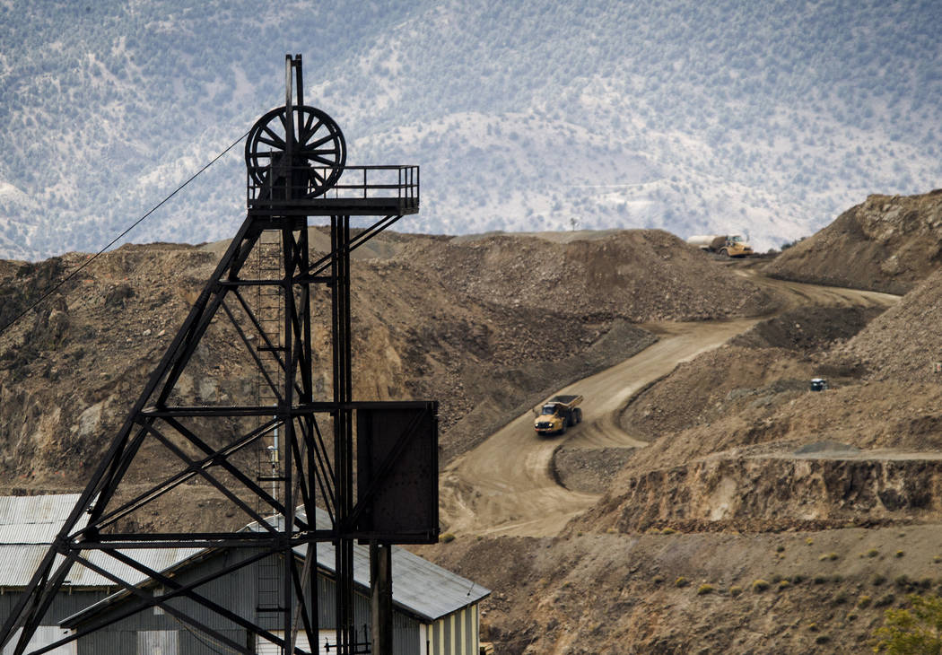 The New York Mine shaft in foreground with mining operations seen Sept. 26, 2013, at Billy the Kid Pit in Storey County. (Las Vegas Review-Journal File)