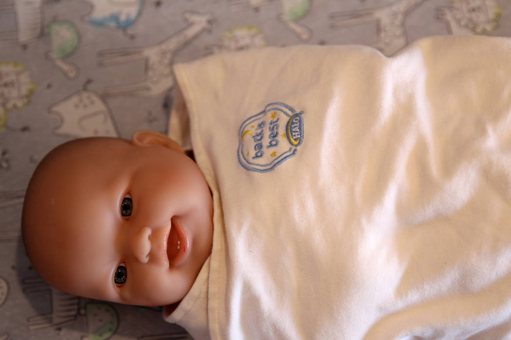 Proper sleeping technique for babies is shown during a Las Vegas police and Sunrise Children's Hospital news conference Thursday, Nov. 8, 2018. K.M. Cannon Las Vegas Review-Journal @KMCannonPhoto