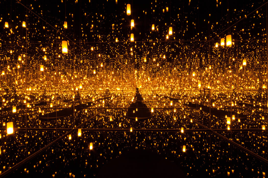 "Yayoi Kusama's ""Aftermath of Obliteration of Eternity,"" 2009 Wood, mirror, plastic, acrylic, LED and aluminum installation (Ota Fine Arts, Tokyo/Singapore/Shanghai and Victoria Miro, London/Venice)"