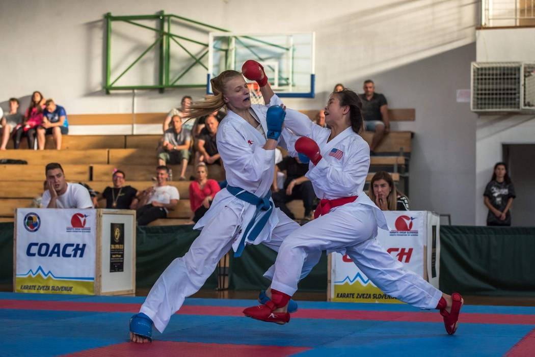 Trinity Allen, right, competes at the Zmaj Open karate tournament in June 2018 in Ljubljana, Slovenia. Courtesy: Jelena Kovacevic Herrera