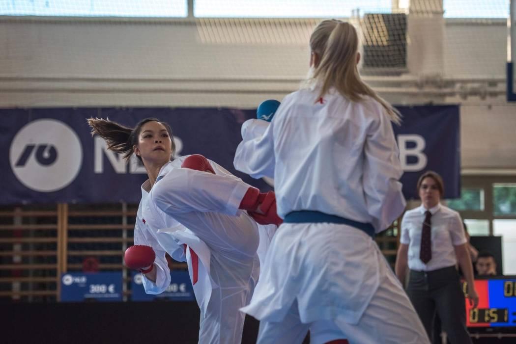Trinity Allen, left, competes at the Zmaj Open karate tournament in June 2018 in Ljubljana, Slovenia. Courtesy: Jelena Kovacevic Herrera