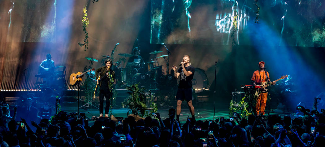 "Imagine Dragons are shown at a fan appreciation show for the release of ""Origins"" at the Chelsea at the Cosmopolitan of Las Vegas on Wednesday, Nov. 7 2018. (Kabik Photo Group)"