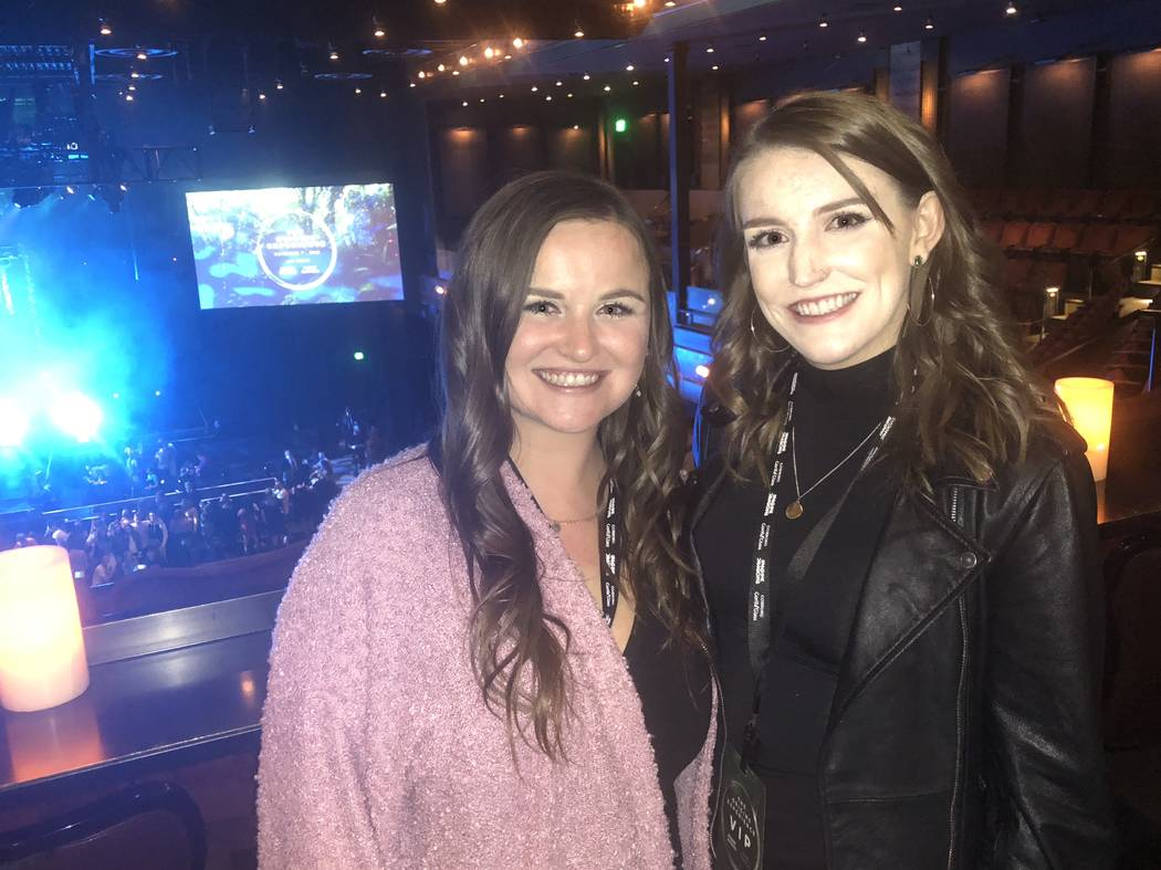 "Kelsey Kryger, left and Taylor Hansbrough made the trip from their hometown of Orlando, Fla. to the Imagine Dragons ""Origins"" pop-up show at the Chelsea at the Cosmopolitan of Las Vegas on Wednesd ..."