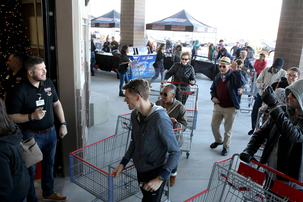 Bradley Balfour welcomes the first customers at the grand opening of Costco near the intersection of St. Rose Parkway and Amigo Street in Henderson Thursday, Nov. 8, 2018. K.M. Cannon Las Vegas Re ...