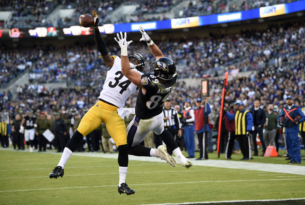 Pittsburgh Steelers strong safety Terrell Edmunds (34) breaks up a pass attempt to Baltimore Ravens tight end Mark Andrews in the end zone in the second half of an NFL football game, Sunday, Nov. ...