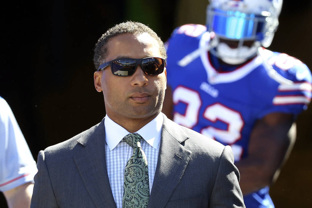 In this Sept. 25, 2016, file photo, Buffalo Bills general manager Doug Whaley walks to the field before an NFL football game against the Arizona Cardinals on in Orchard Park, N.Y. (AP Photo/Bill W ...