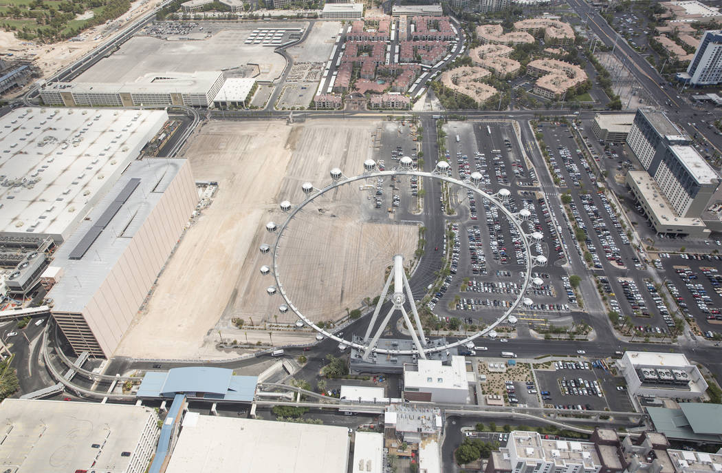 Aerial photos of construction of the future Caesars convention center space east of the High Roller on Wednesday, August 22, 2018, in Las Vegas. Benjamin Hager Las Vegas Review-Journal