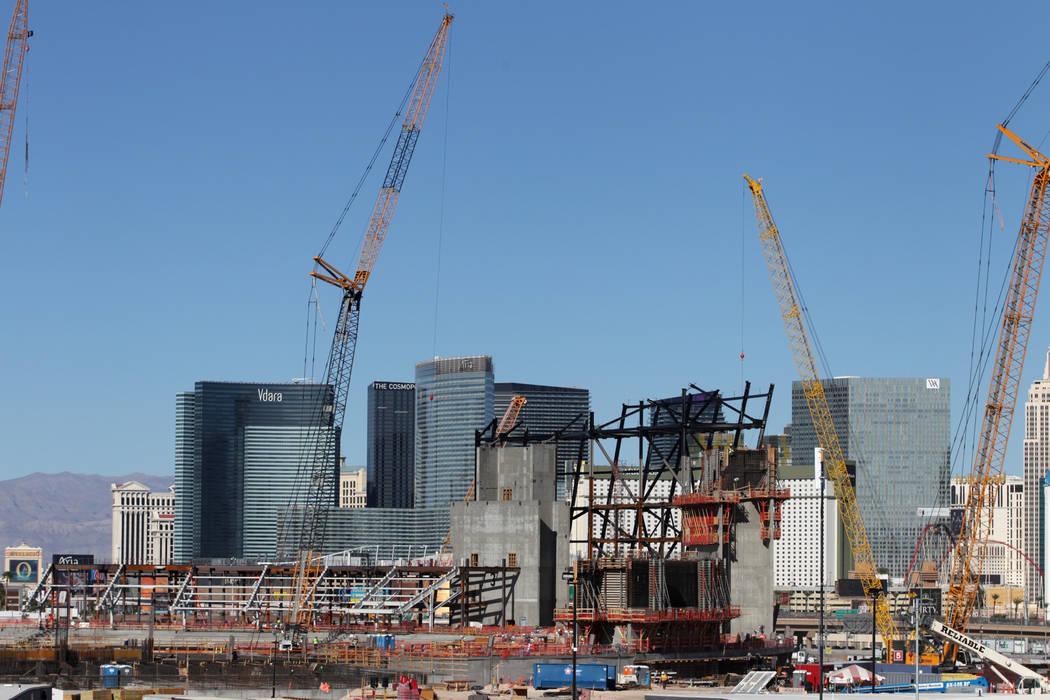 The construction site of the future Raiders stadium in Las Vegas, Tuesday, Oct. 30, 2018. Erik Verduzco Las Vegas Review-Journal @Erik_Verduzco