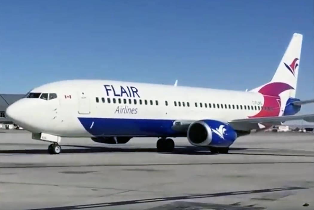 A Flair Airlines jet arrives at McCarran International Airport in Las Vegas on Thursday, Nov. 8, 2018. (Flair via Facebook)