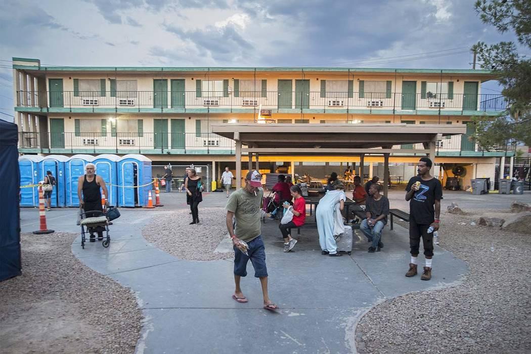 The city of Las Vegas' homeless courtyard on Thursday, July 27, 2018, in Las Vegas. Benjamin Hager Las Vegas Review-Journal @benjaminhphoto