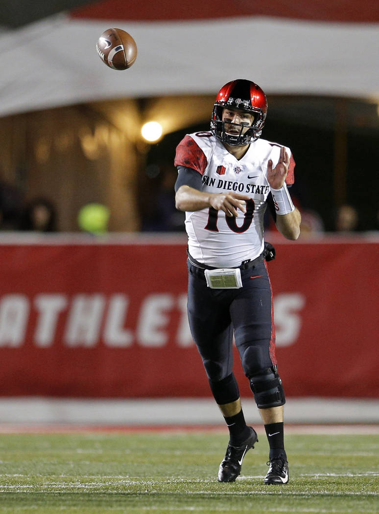 San Diego State quarterback Christian Chapman throws during the first half of an NCAA college football game against New Mexico in Albuquerque, N.M., Saturday, Nov. 3, 2018. (AP Photo/Andres Leighton)