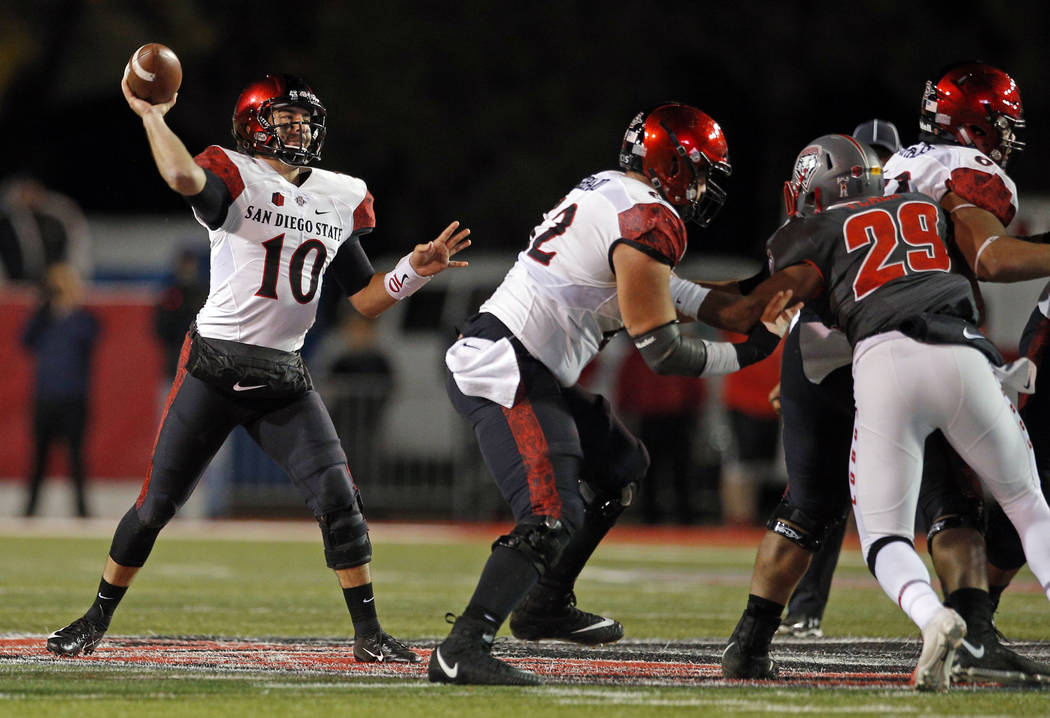 San Diego State quarterback Christian Chapman (10) throws during the second half of an NCAA college football game against New Mexico in Albuquerque, N.M., Saturday, Nov. 3, 2018. San Diego State w ...