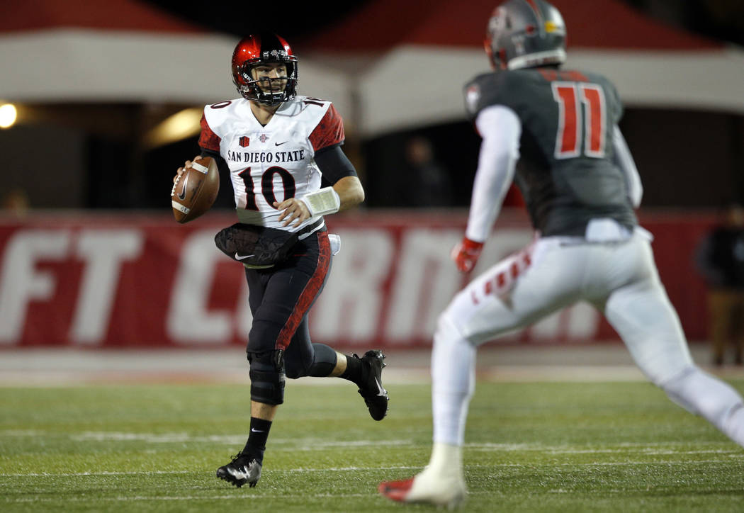 San Diego State quarterback Christian Chapman (10) searches for a receiver during the second half of an NCAA college football game against New Mexico in Albuquerque, N.M., Saturday, Nov. 3, 2018. ...