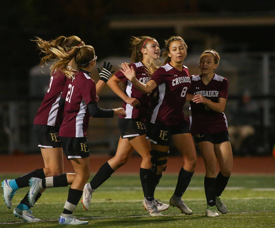 Faith Lutheran celebrates after scoring against Coronado during the state quarterfinal game at Faith Lutheran High School in Las Vegas, Thursday, Nov. 8, 2018. Caroline Brehman/Las Vegas Review-Jo ...