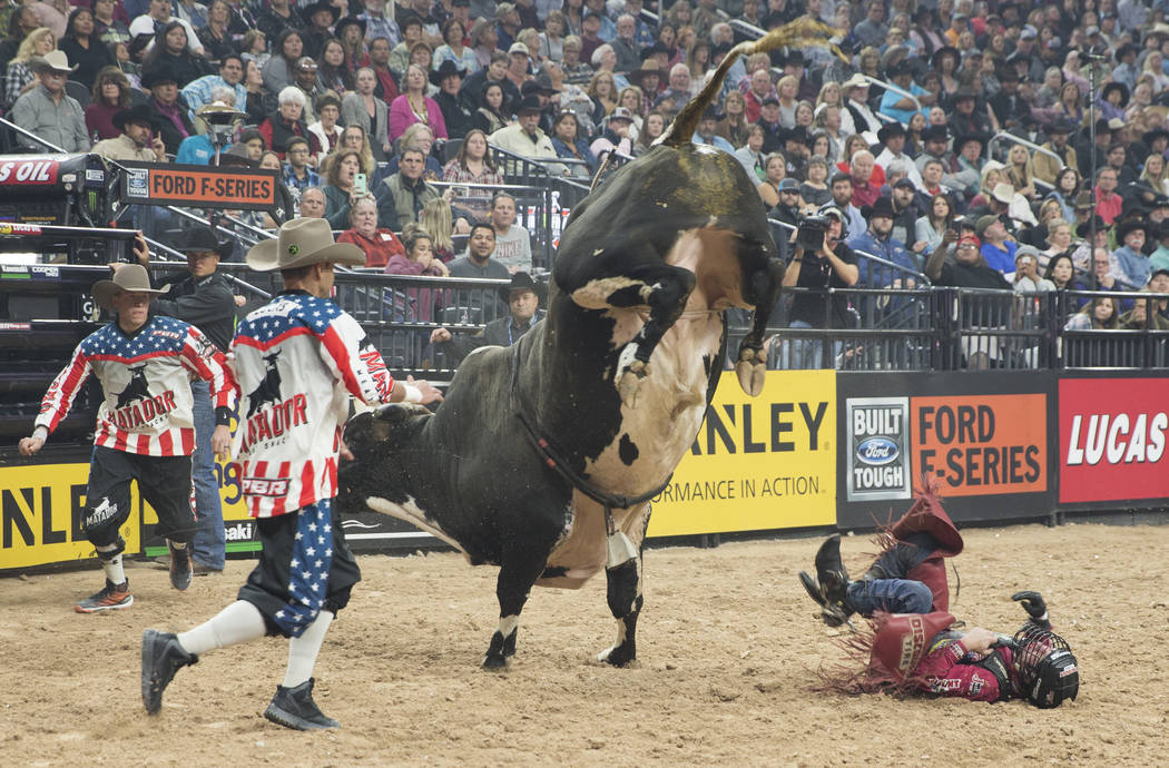 "Brennon Eldred gets bucked off of ""Hydrastar Slinger Jr."" during the Professional Bull Riders World Finals on Thursday, November 8, 2018, at T-Mobile Arena, in Las Vegas. Benjamin Hager ..."