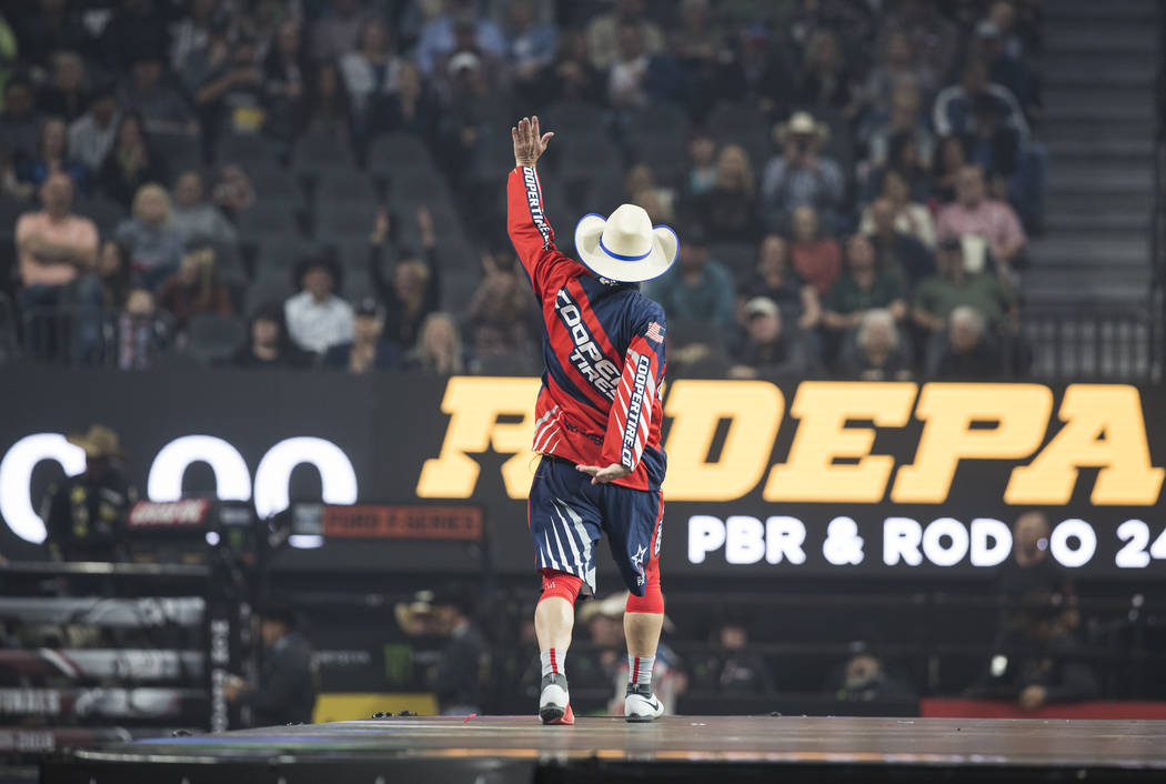 Rodeo clown Flint Rassmusen entertains the crowd during the Professional Bull Riders World Finals on Thursday, November 8, 2018, at T-Mobile Arena, in Las Vegas. Benjamin Hager Las Vegas Review-Jo ...